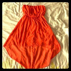 Orange high low strapless dress